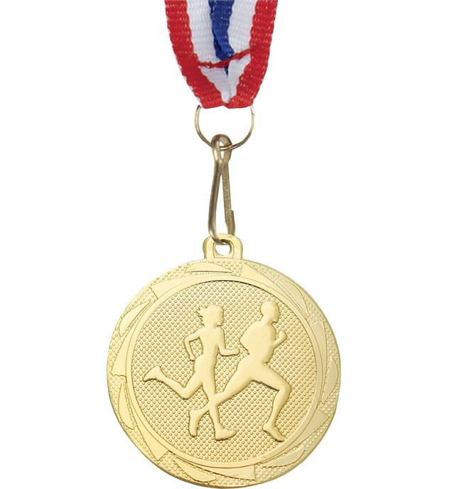 """Running Fusion Medal with Medal Ribbon Gold 45mm (1.75"""")"""
