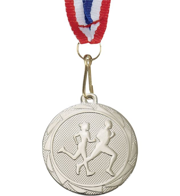 "Running Fusion Medal Silver Medal with Medal Ribbon 45mm (1.75"")"