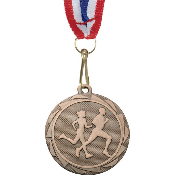 "Running Fusion Medal Bronze with Medal Ribbon 45mm (1.75"")"