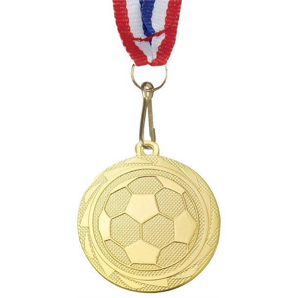 """Football Fusion Medal with Medal Ribbon Gold 45mm (1.75"""")"""