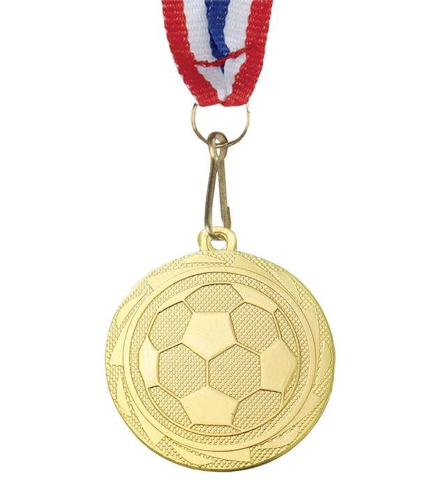 "Football Fusion Medal with Medal Ribbon Gold 45mm (1.75"")"
