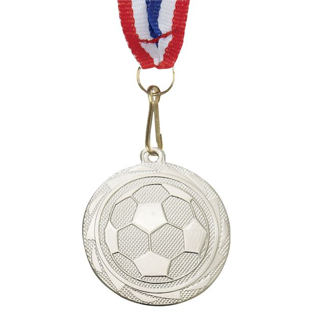 """Football Fusion Medal Silver with Medal Ribbon 45mm (1.75"""")"""
