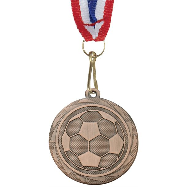 "Football Fusion Medal Bronze with Medal Ribbon 45mm (1.75"")"