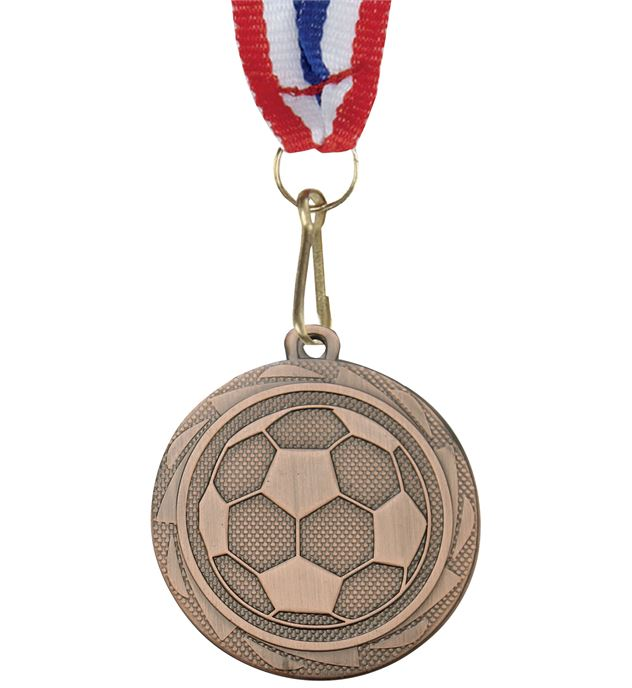 """Football Fusion Medal Bronze with Medal Ribbon 45mm (1.75"""")"""