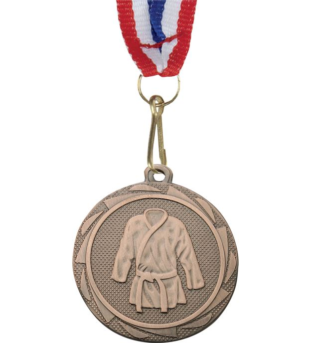 """Martial Arts Fusion Medal Bronze with Medal Ribbon 45mm (1.75"""")"""