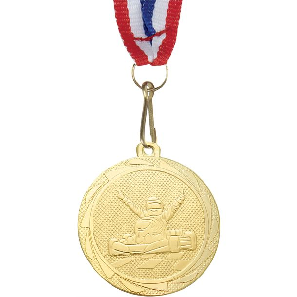 """Karting Fusion Medal Gold with Medal Ribbon 45mm (1.75"""")"""