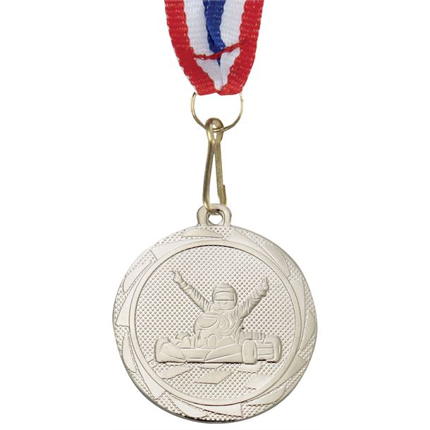 """Karting Fusion Medal Silver with Medal Ribbon 45mm (1.75"""")"""