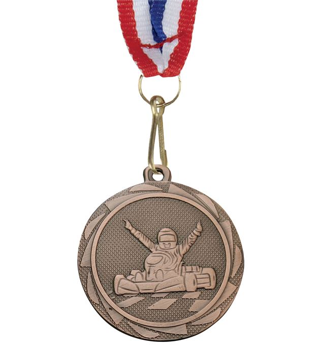 "Karting Fusion Medal Bronze with Medal Ribbon 45mm (1.75"")"