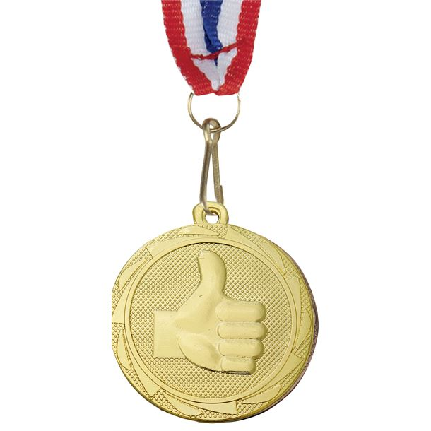 "Thumbs Up Fusion Medal Gold with Medal Ribbon 45mm (1.75"")"