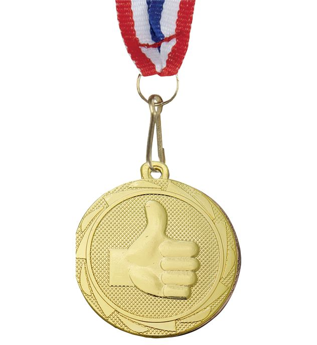 """Thumbs Up Fusion Medal Gold with Medal Ribbon 45mm (1.75"""")"""