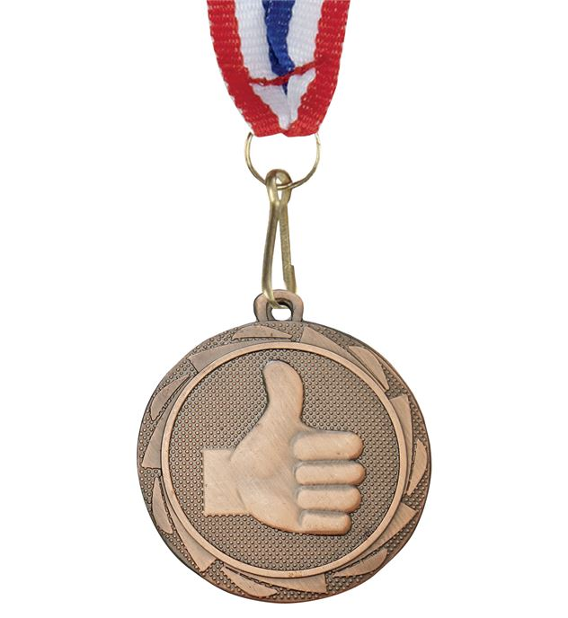 """Thumbs Up Fusion Medal Bronze with Medal Ribbon 45mm (1.75"""")"""