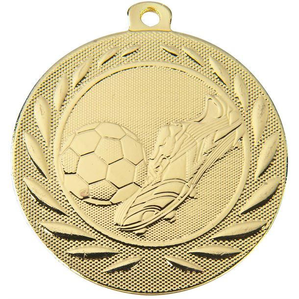 """Football Boot and Ball Gallant Medal Gold 50mm (2"""")"""