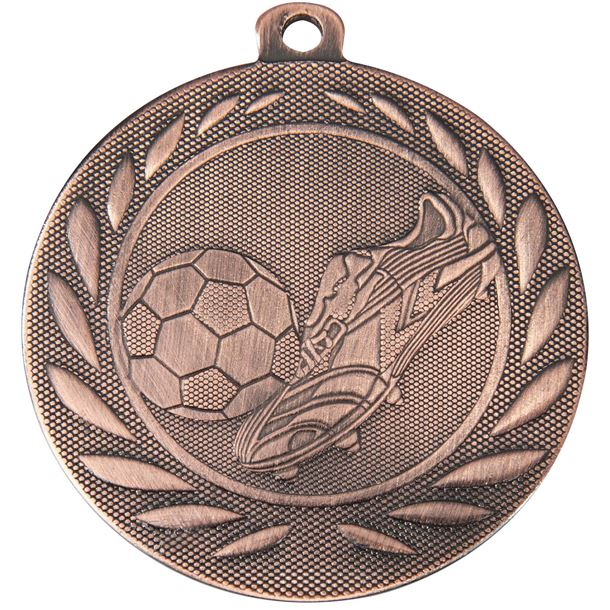 """Football Boot and Ball Gallant Medal Bronze 50mm (2"""")"""