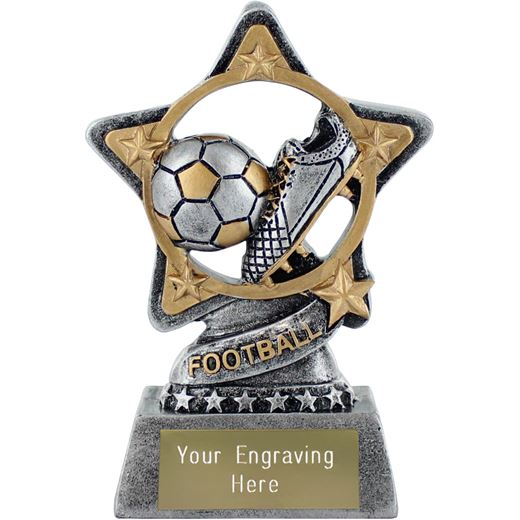 """Football Trophy by Infinity Stars Antique Silver 10cm (4"""")"""