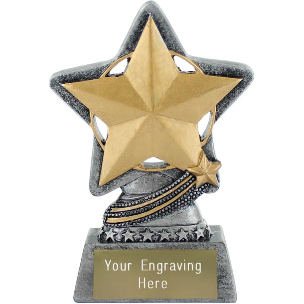"""Star Trophy by Infinity Stars Antique Silver 10cm (4"""")"""