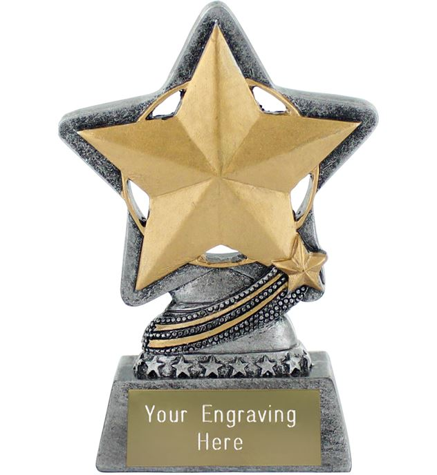 "Star Trophy by Infinity Stars Antique Silver 10cm (4"")"