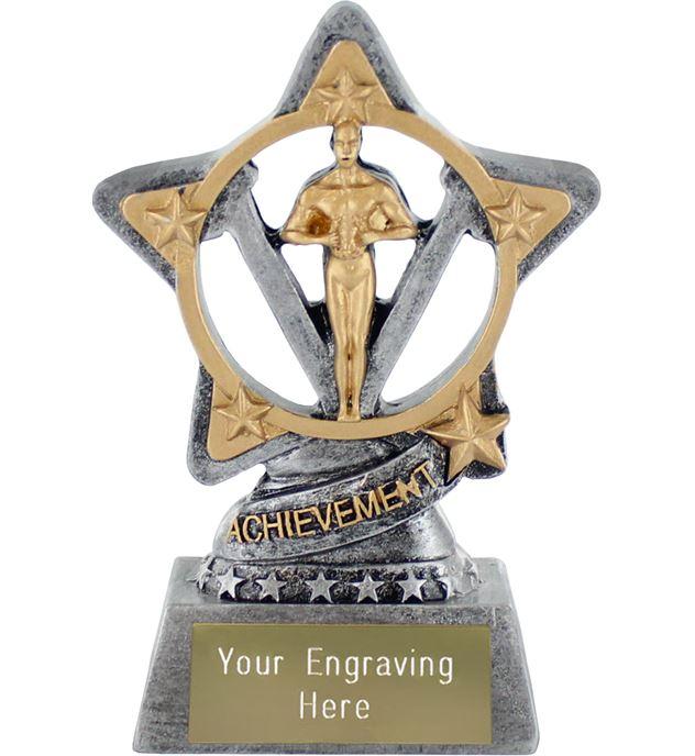 "Achievement Statue Trophy by Infinity Stars Antique Silver 10cm (4"")"