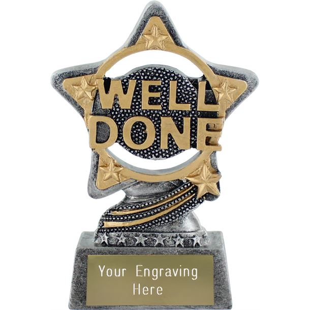"""Well Done Trophy by Infinity Stars Antique Silver 10cm (4"""")"""
