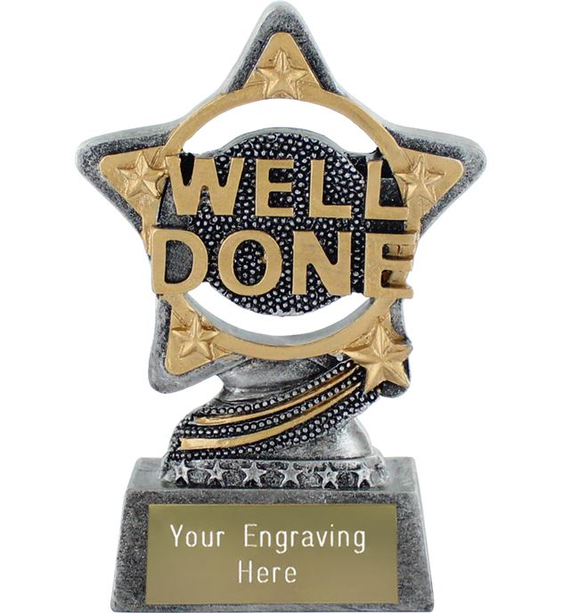 "Well Done Trophy by Infinity Stars Antique Silver 10cm (4"")"