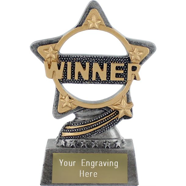 "Winner Trophy by Infinity Stars Antique Silver 10cm (4"")"