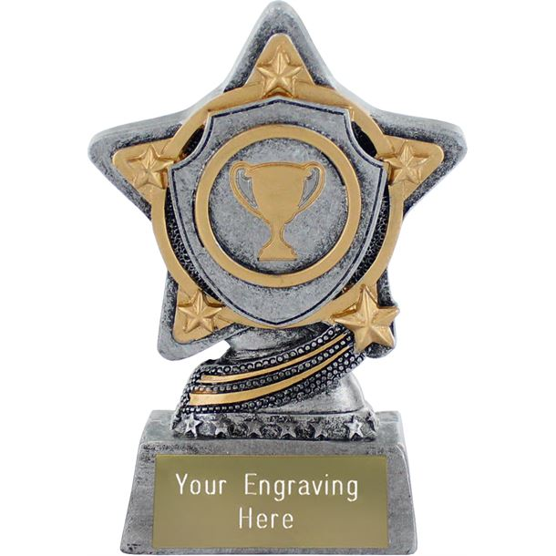 """Shield Trophy by Infinity Stars Antique Silver 10cm (4"""")"""