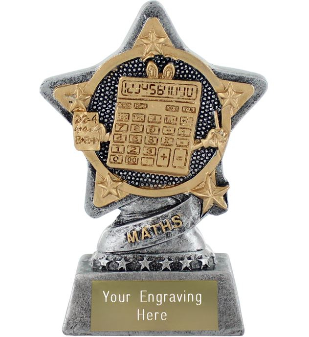 """Maths Trophy by Infinity Stars Antique Silver 10cm (4"""")"""