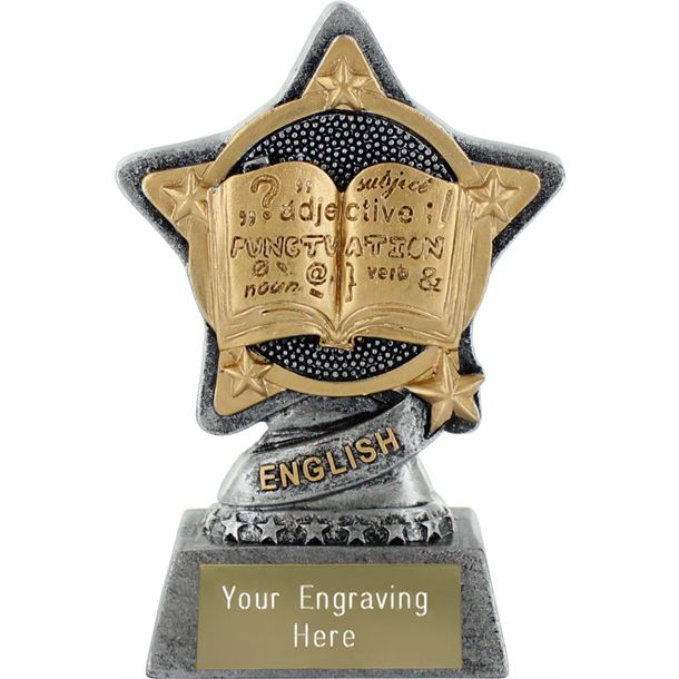 """English Trophy by Infinity Stars Antique Silver 10cm (4"""")"""