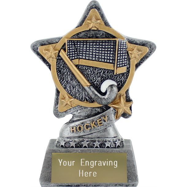 "Hockey Trophy by Infinity Stars Antique Silver 10cm (4"")"