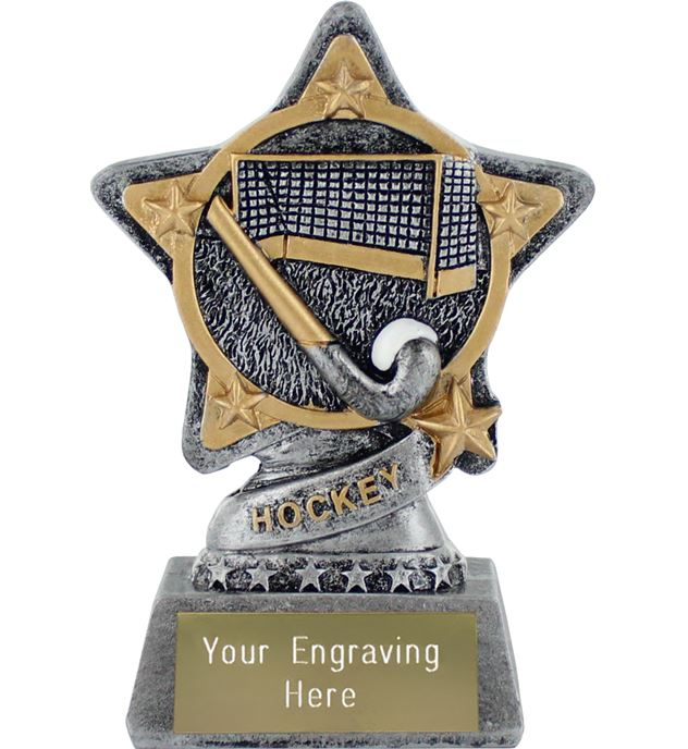 """Hockey Trophy by Infinity Stars Antique Silver 10cm (4"""")"""