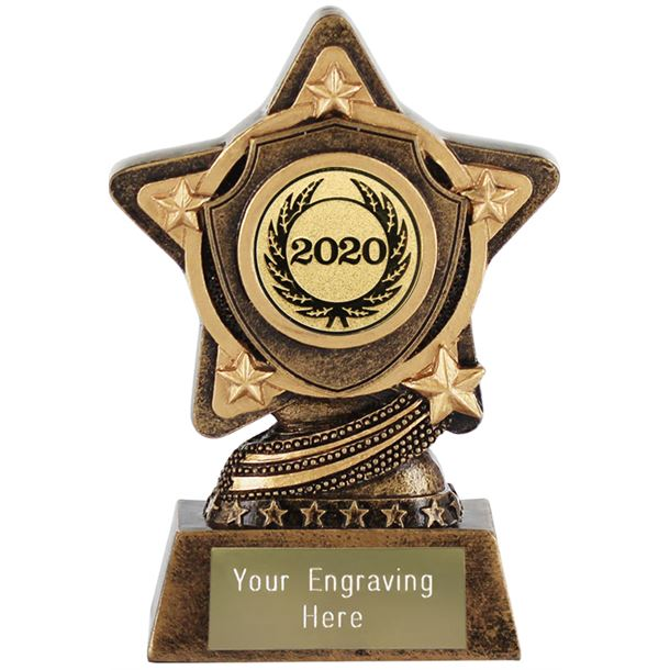 """2020 Gold Centre Shield Trophy by Infinity Stars 10cm (4"""")"""