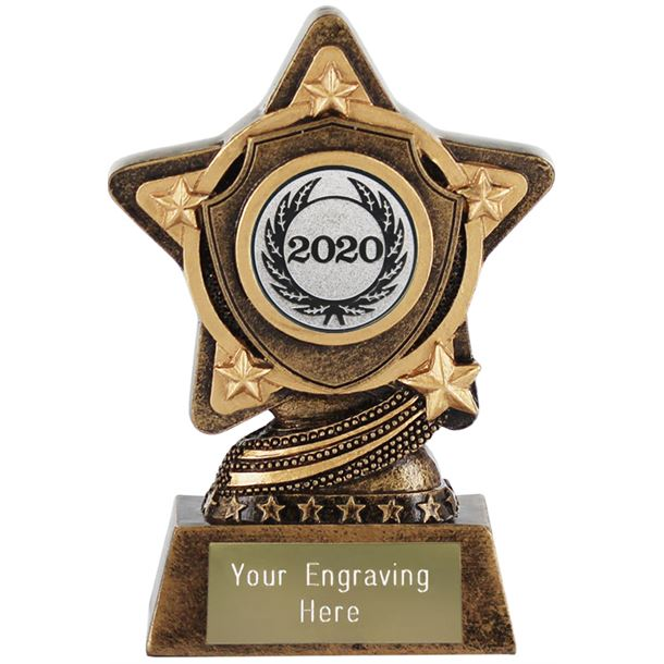 "2020 Silver Centre Shield Trophy by Infinity Stars 10cm (4"")"