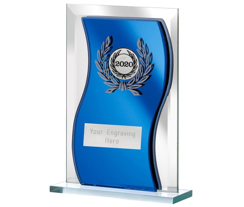 "2020 Blue Mirrored Glass Plaque Award 12.5cm (5"")"