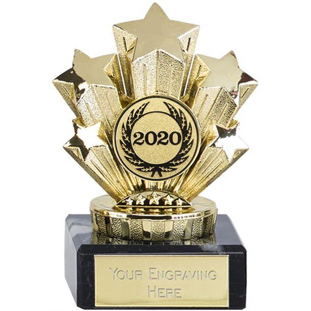 "2020 Multi Award Gold Star Trophy On Marble Base 9.5cm (3.75"")"