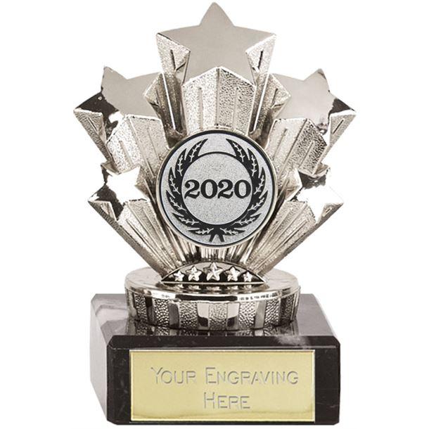 "2020 Multi Award Silver Star Trophy On Marble Base 9.5cm (3.75"")"