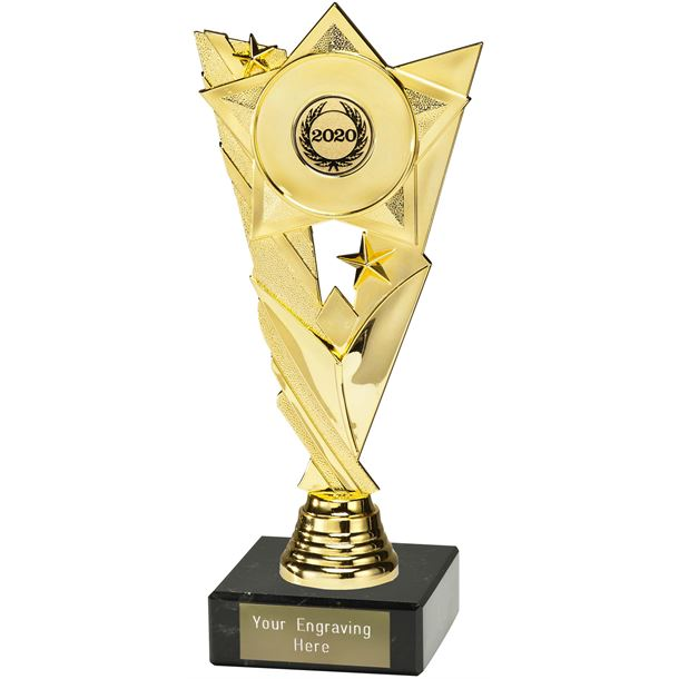 "Valour Star 2020 Trophy on Marble Base Gold 21cm (8.25"")"