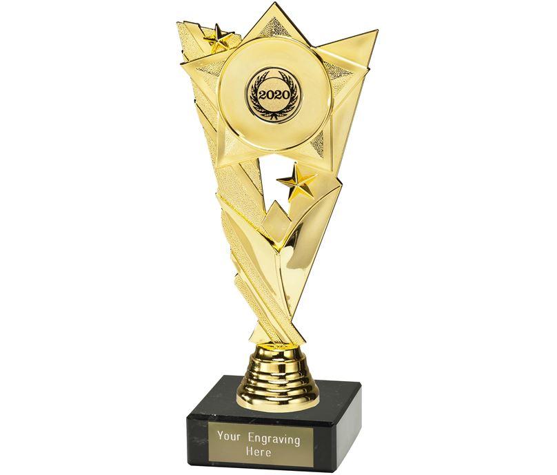 "Valour Star 2020 Trophy on Marble Base Gold 21cm (8.25"")"