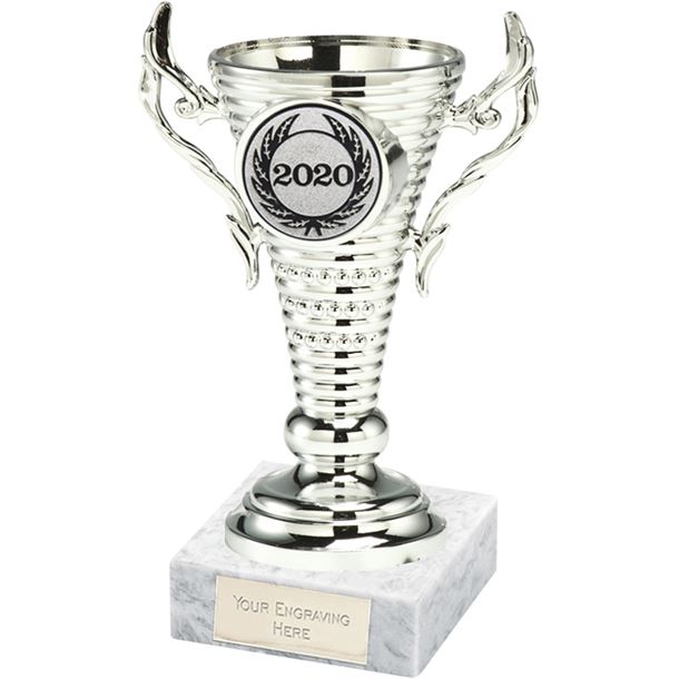 """2020 Silver Trophy Cup on White Marble Base 12.5cm (5"""")"""