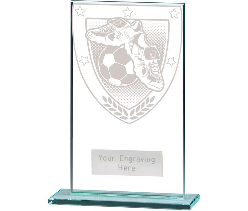 """Millennium Football Boot & Ball Jade Glass Award 14cm (5.5"""")"""