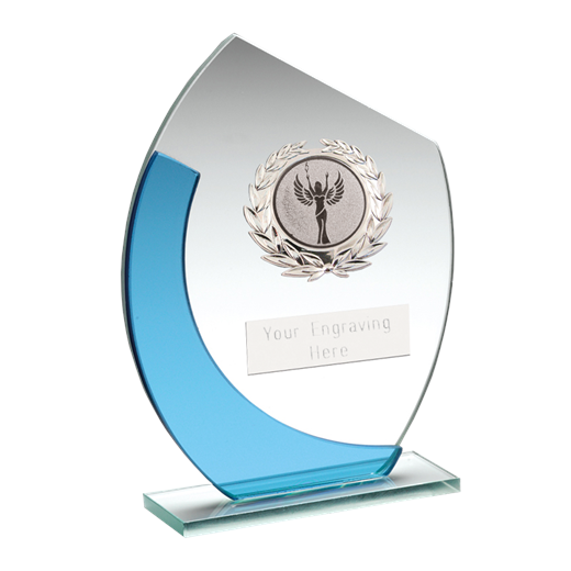 """Blue & Silver Curved Glass Plaque Award With Silver Detail 15cm (6"""")"""