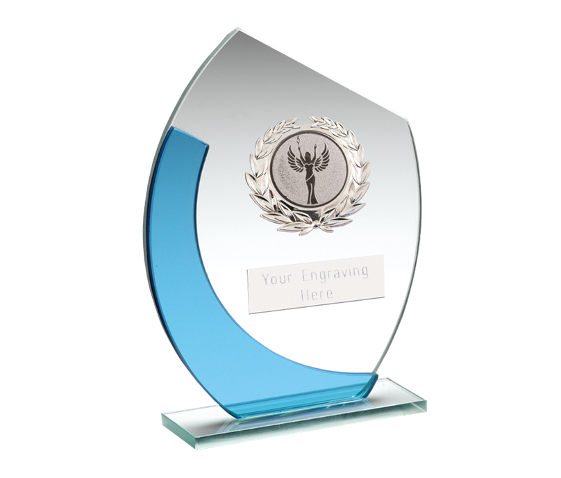 "Blue & Silver Curved Glass Plaque Award With Silver Detail 15cm (6"")"