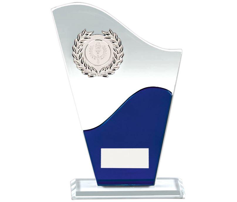 "Trek Clear & Blue Glass Plaque Award 20cm (8"")"