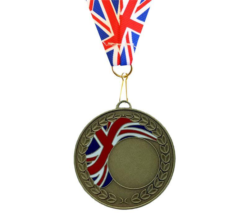 Union Flag Laurel Wreath Medal Bronze 50mm with Union Flag Ribbon