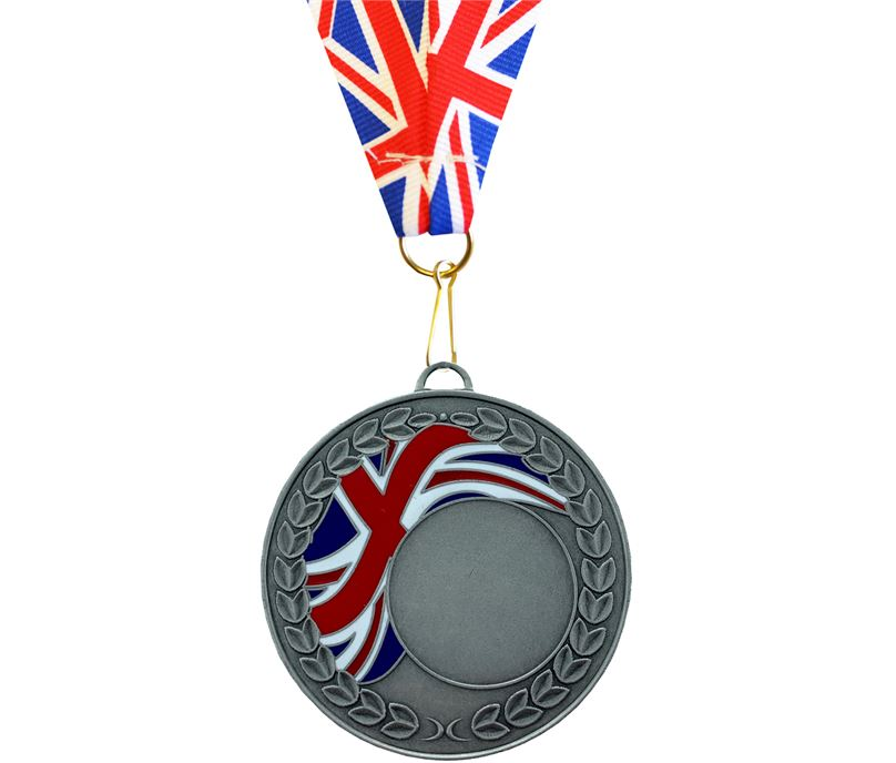 Union Flag Laurel Wreath Medal Silver 50mm with Union Flag Ribbon