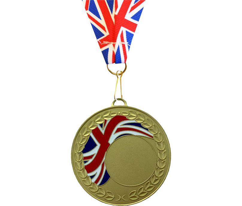 Union Flag Laurel Wreath Medal Gold 50mm with Union Flag Ribbon