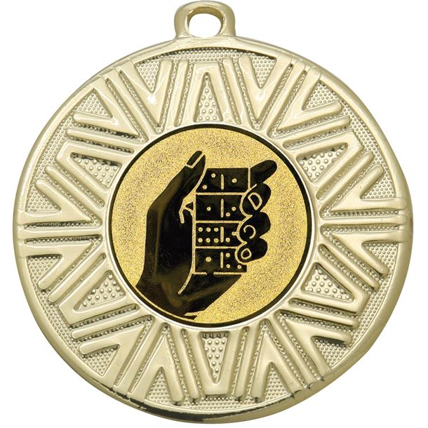 "Dominoes Achievement Medal Gold 50mm (2"")"
