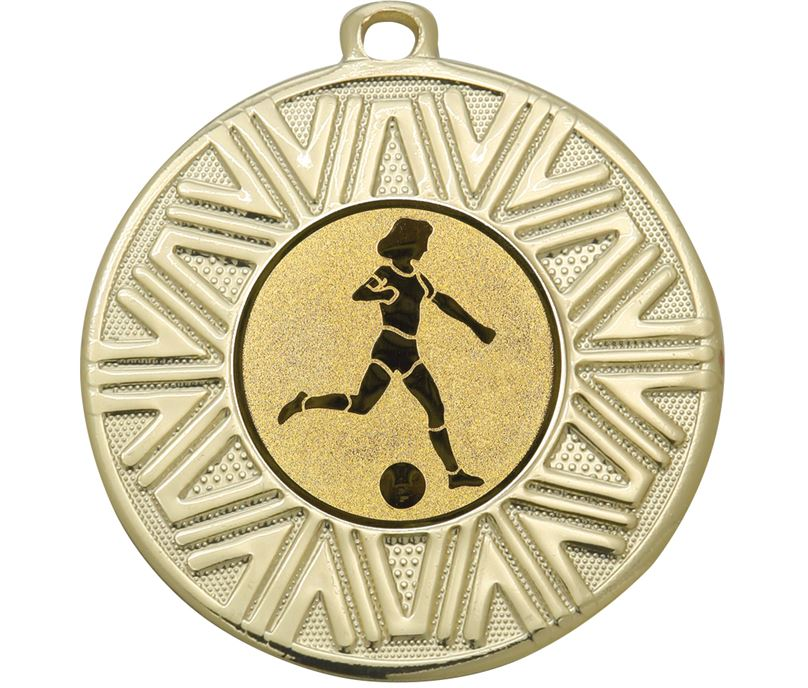 "Female Football Achievement Medal Gold 50mm (2"")"