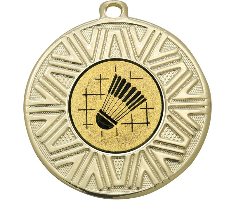 "Badminton Achievement Medal Gold 50mm (2"")"