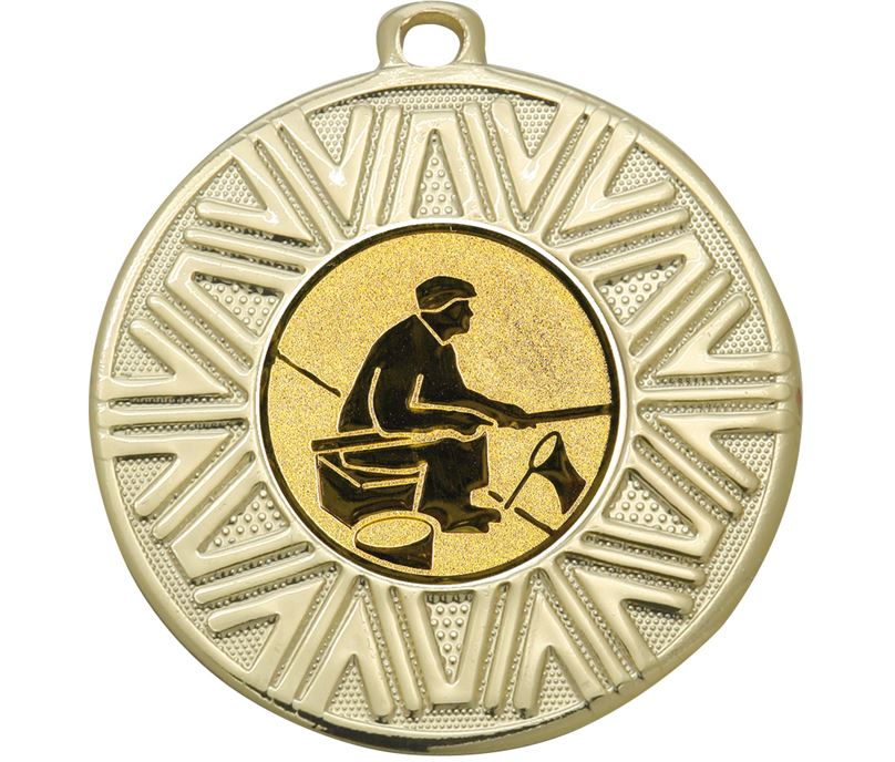 """Fishing Achievement Medal Gold 50mm (2"""")"""
