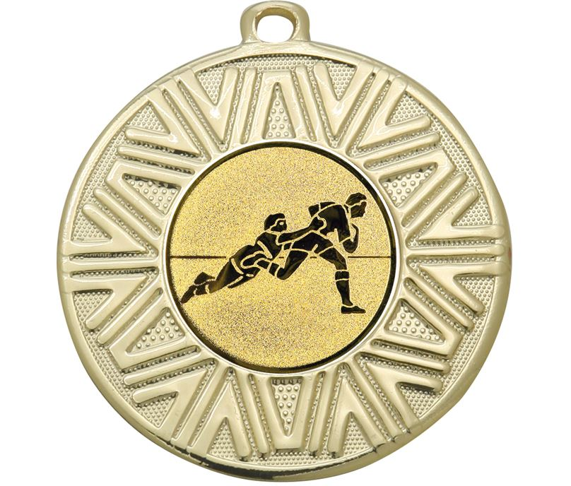 """Rugby Achievement Medal Gold 50mm (2"""")"""