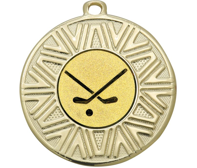 "Hockey Sticks Achievement Medal Gold 50mm (2"")"